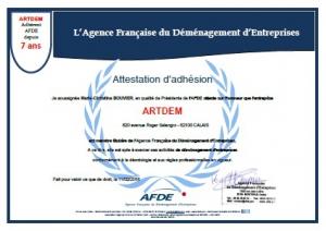 attestation adhésion agence française du déménagement d'entreprises
